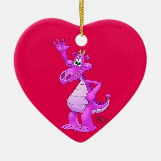 Cartoon illustration of a waving purple dragon. ceramic heart decoration