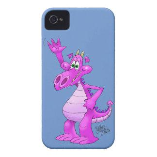Cartoon illustration of a waving purple dragon. iPhone 4 Case-Mate case
