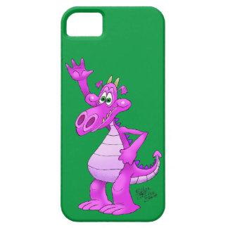 Cartoon illustration of a waving purple dragon. iPhone 5 case