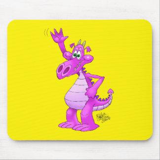 Cartoon illustration of a waving purple dragon. mouse pad