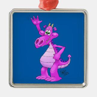 Cartoon illustration of a waving purple dragon. Silver-Colored square decoration
