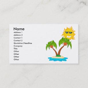 Island palm business cards zazzle nz cartoon island sun and palm trees business card colourmoves