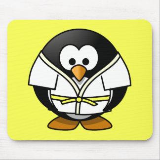 Cartoon Judo Penguin Yellow Background Mouse Pad