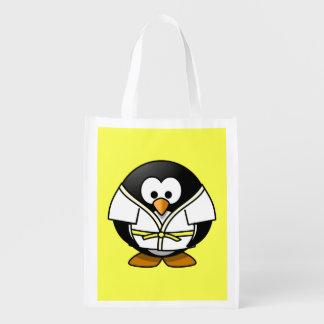 Cartoon Judo Penguin Yellow Background Reusable Grocery Bag