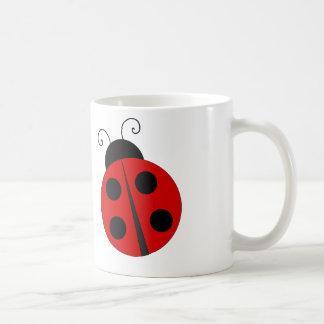 Cartoon Ladybug - White Coffee Mug