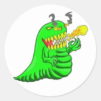 Cartoon Lizard Dragon Art Round Stickers