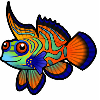 Cartoon Mandarin / Dragonet Fish Photo Sculpture Magnet