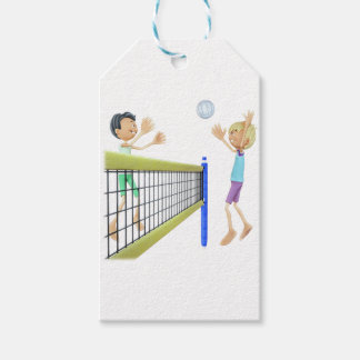 Cartoon Men Playing Volleyball Gift Tags