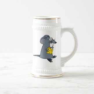 Cartoon Mouse with Cheese Beer Steins