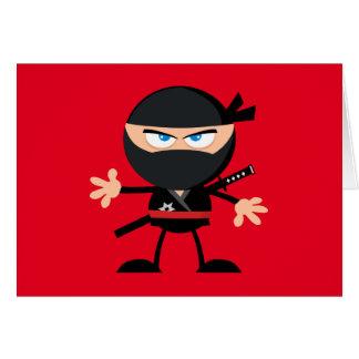 Cartoon Ninja Warrior Red Happy Birthday Card