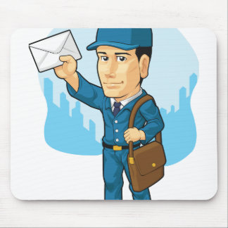 Cartoon of Postman or Mailman Mouse Pad