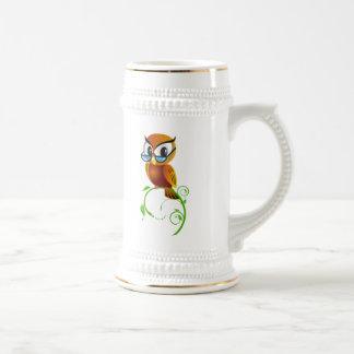 Cartoon Owl on Green Branch Mugs