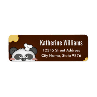 Cartoon Panda Brown Return Address Label