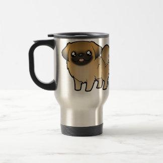 Cartoon Pekeingese (puppy cut) Stainless Steel Travel Mug