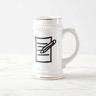Cartoon Pencil and Paper Coffee Mugs