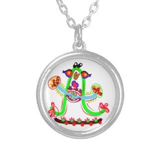 Cartoon Play with Alphabet A Silver Plated Necklace