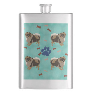 Cartoon Pomeranian Hip Flask