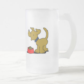 Cartoon Puppy Eating Frosted Glass Mug