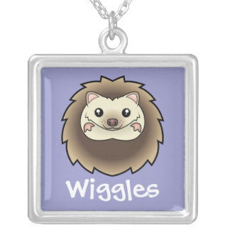 Cartoon Pygmy Hedgehog (add your pets name) Silver Plated Necklace