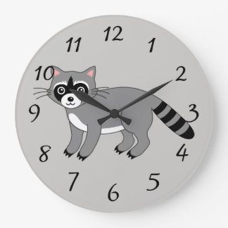 Cartoon Racoon Large Clock