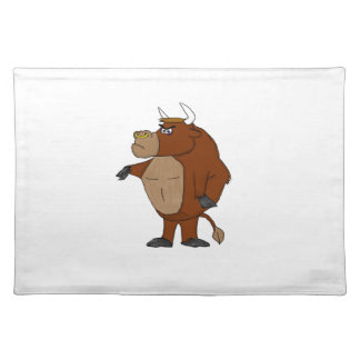 Cartoon raging bull placemat