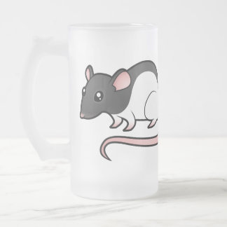 Cartoon Rat Frosted Glass Beer Mug