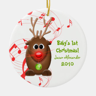 Cartoon Reindeer Babys First Christmas Ornament