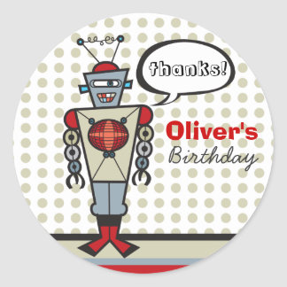 Cartoon Retro Robot Cute Kids Boy Birthday Party Round Sticker