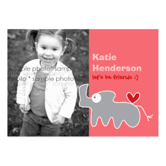 Cartoon Rhinoceros Kids Custom Photo Playdate Card Business Card Templates