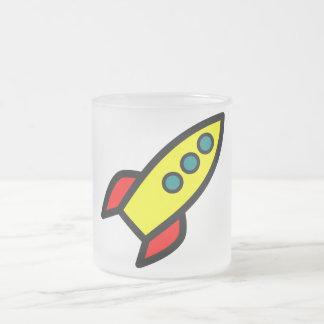 Cartoon Rocket Frosted Glass Mug