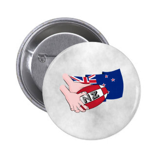 Cartoon Rugby Ball Pass New Zealand Flag 6 Cm Round Badge