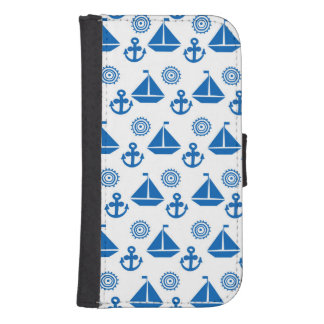 Cartoon Sail Boat Pattern Samsung S4 Wallet Case