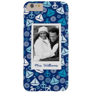 Cartoon Sailboats Pattern | Your Photo & Name Barely There iPhone 6 Plus Case