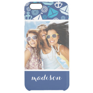 Cartoon Sailboats Pattern | Your Photo & Name Clear iPhone 6 Plus Case
