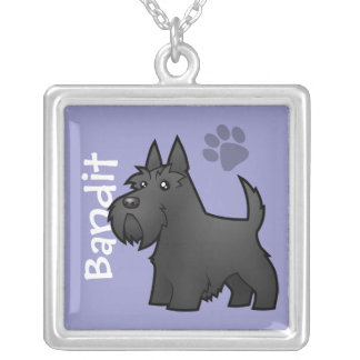 Cartoon Scottish Terrier (add your pets name) Silver Plated Necklace