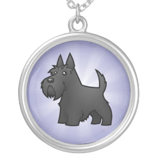 Cartoon Scottish Terrier Silver Plated Necklace