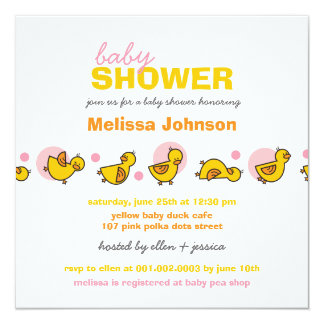 Cartoon Silly Duckies Baby Girl Shower Invitation Custom Invites