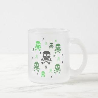 Cartoon Skulls Collage - Green Frosted Glass Mug