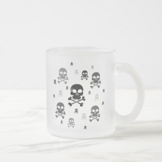 Cartoon Skulls Collage - Greyscale Frosted Glass Coffee Mug