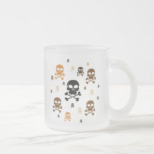 Cartoon Skulls Collage - Orange Mug