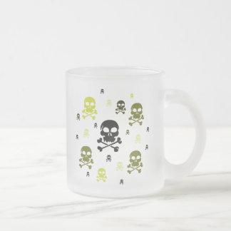 Cartoon Skulls Collage - Yellow Frosted Glass Mug