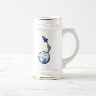 Cartoon Space Rocket Coffee Mug