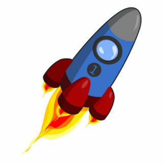 Cartoon Space Rocket Standing Photo Sculpture