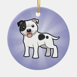 Cartoon Staffordshire Bull Terrier Christmas Ornament