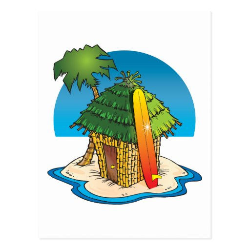cartoon tiki hut with surfboard and palm zazzle Hawaiian Clip Art Luau Clip Art