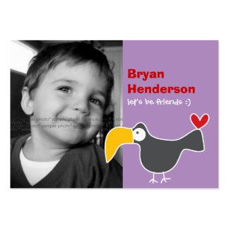 Cartoon Toucan Kids Custom Photo Playdate Card Business Card Templates