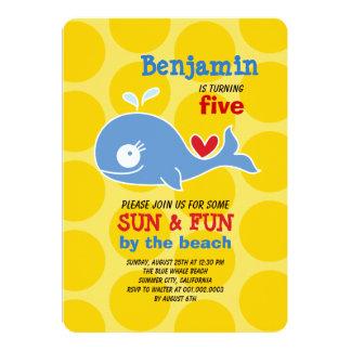 "Cartoon Whale Beach Kid Boy Birthday Photo Invite 5"" X 7"" Invitation Card"