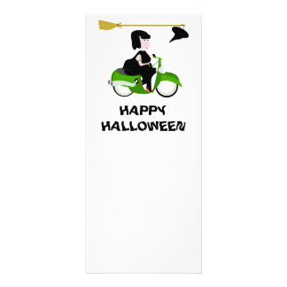 Cartoon Witch Riding A Green Moped Personalized Rack Card