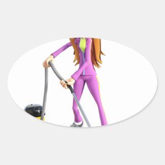 Cartoon Woman Using a Vacuum Oval Sticker
