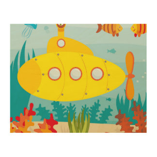 Cartoon Yellow Submarine Wood Canvas